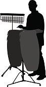 Vector silhouette of a man playing the bongos with chimes.