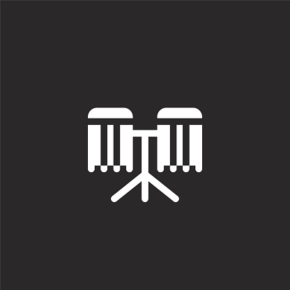 bongos icon. Filled bongos icon for website design and mobile, app development. bongos icon from filled music instruments collection isolated on black background.