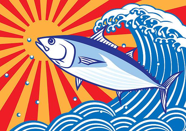 ボニトとウェイブズ。tuna.skipjack マグロます。 - 和食点のイラスト素材/クリップアート素材/マンガ素材/アイコン素材