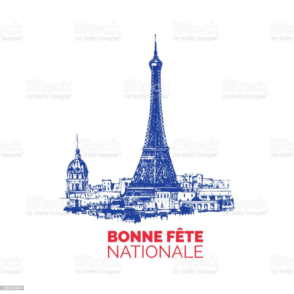 Ilustración De Bonne Fête Nationale Rotulación A Mano Frase