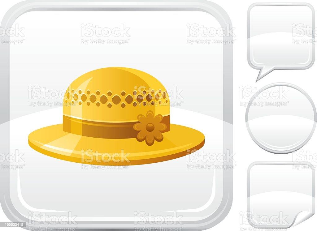 Bonnet icon on silver button vector art illustration