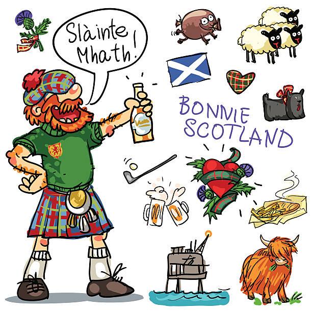bonnie scotland cartoon clipart collection - haggis stock illustrations, clip art, cartoons, & icons