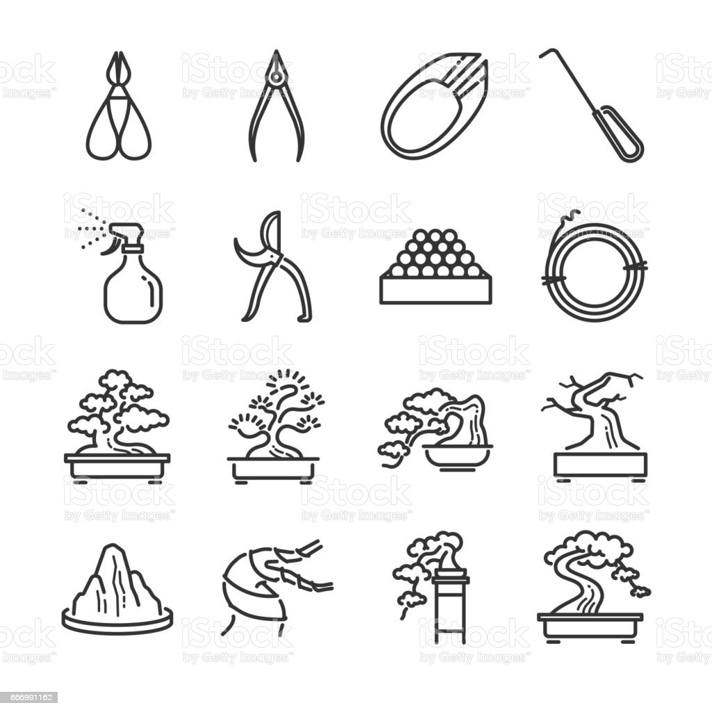 Bonsai Line Icon Set Included The Icons As Juniper Containers ...