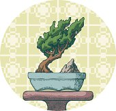 Vector illustration of a very nice bonsai on display. Includes Eps file and high rez jpeg.