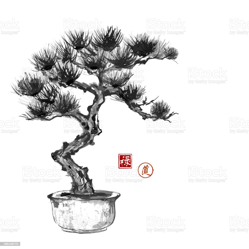 Bonsai pine tree hand handdrawn with ink stock vector art - Dessin bonzai ...