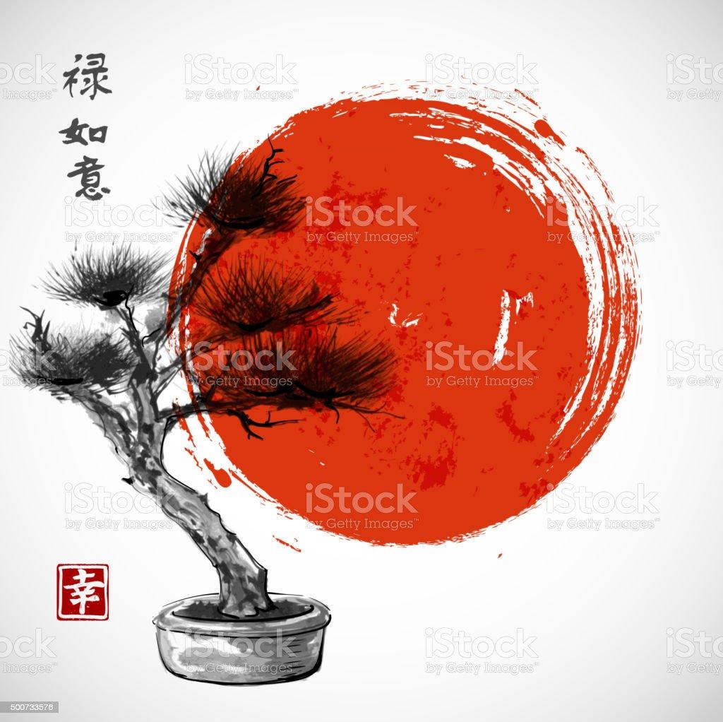 Bonsai pine tree vector art illustration