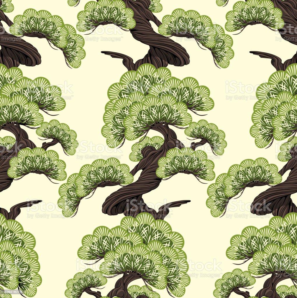 Bonsai pine vector art illustration