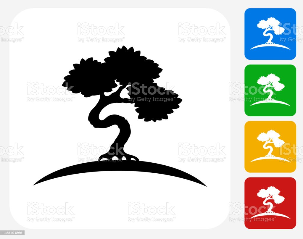 Bonsai Tree Icon Flat Graphic Design vector art illustration