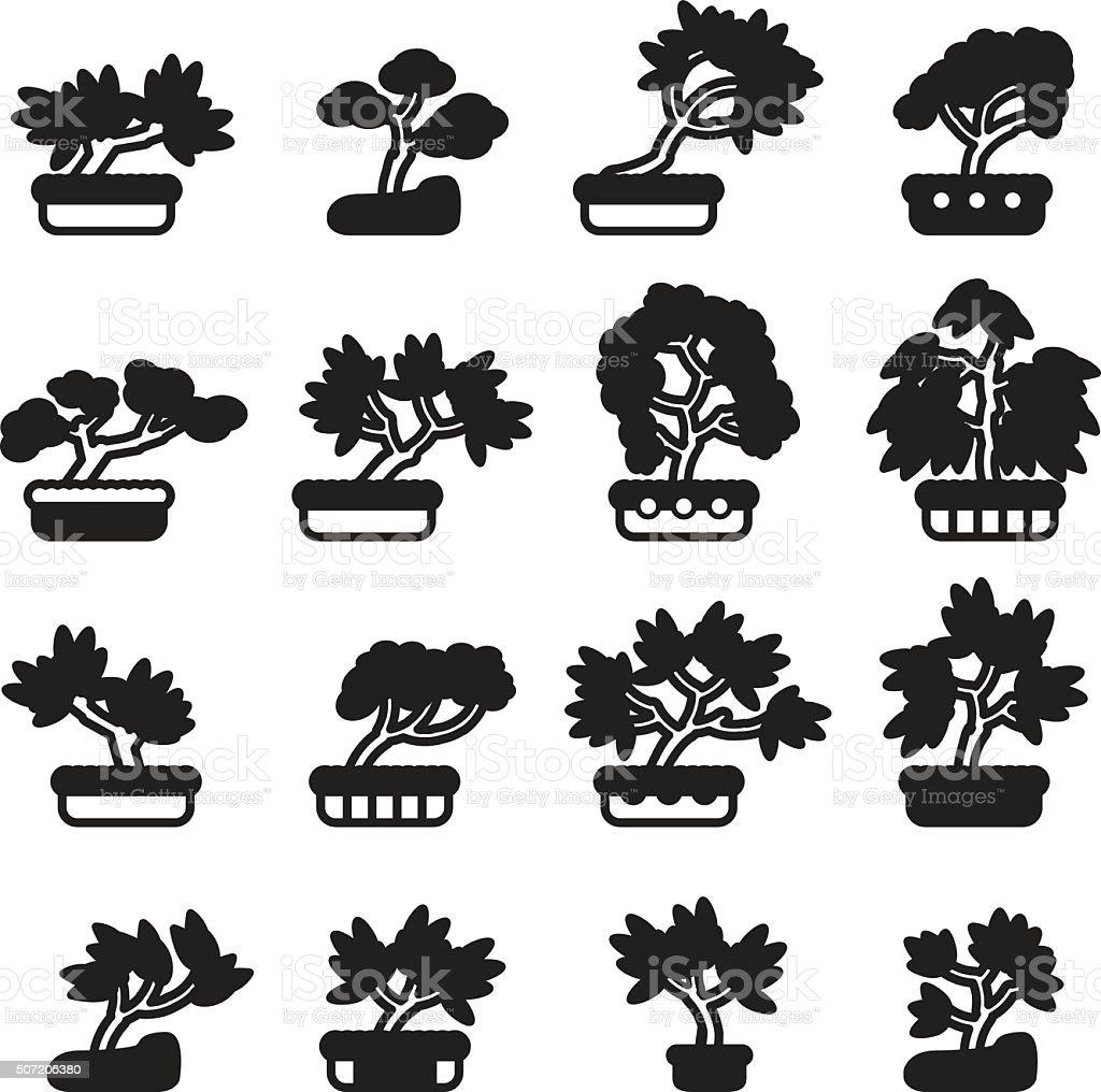 Bonsai gruppo di icone. Vettoriale EPS 10. - illustrazione arte vettoriale