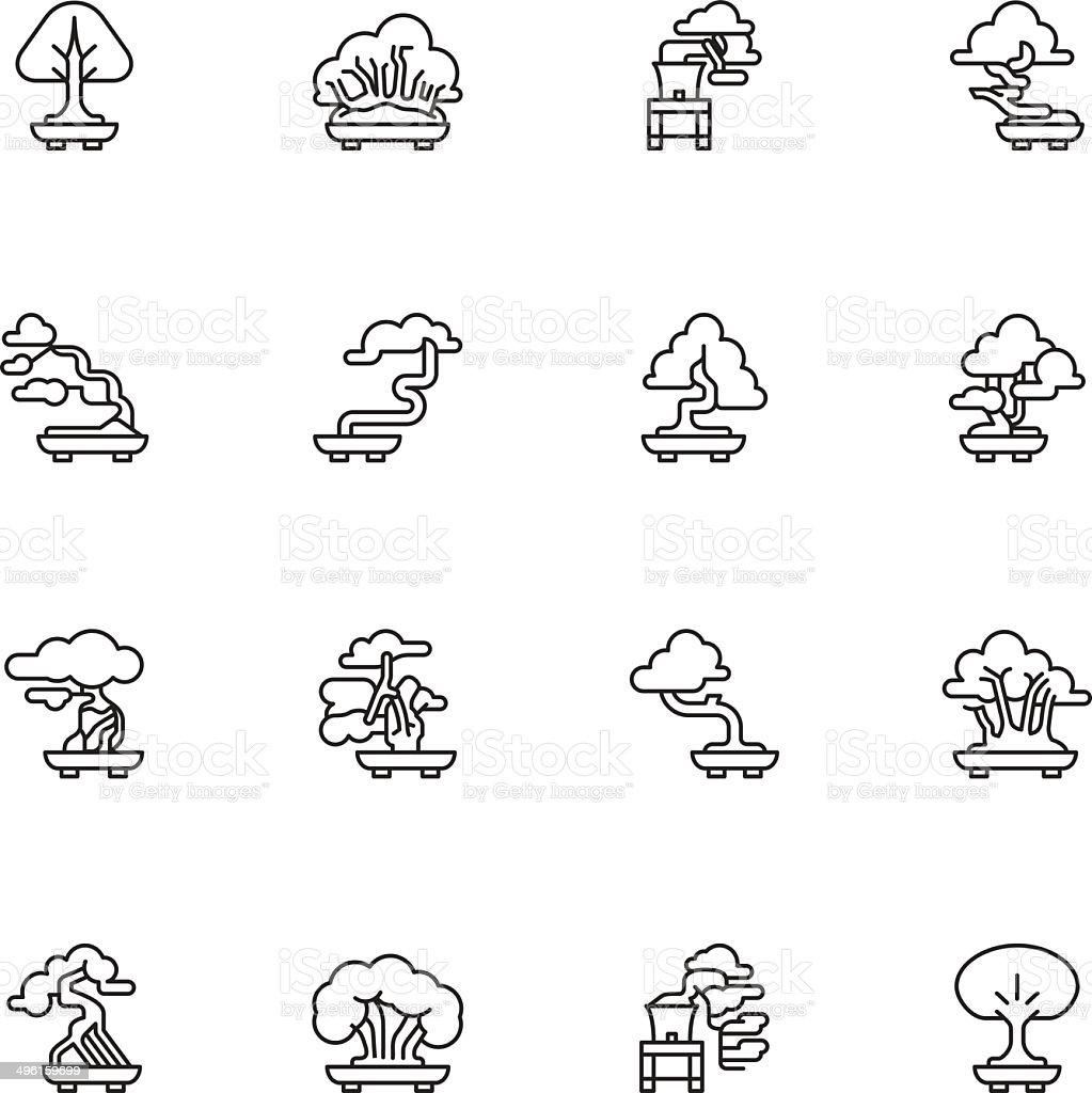 Bonsai Tree Icons - Light vector art illustration