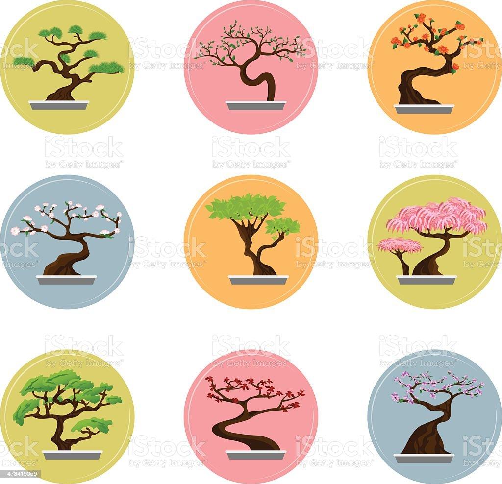 Bonsai Tree Set vector art illustration