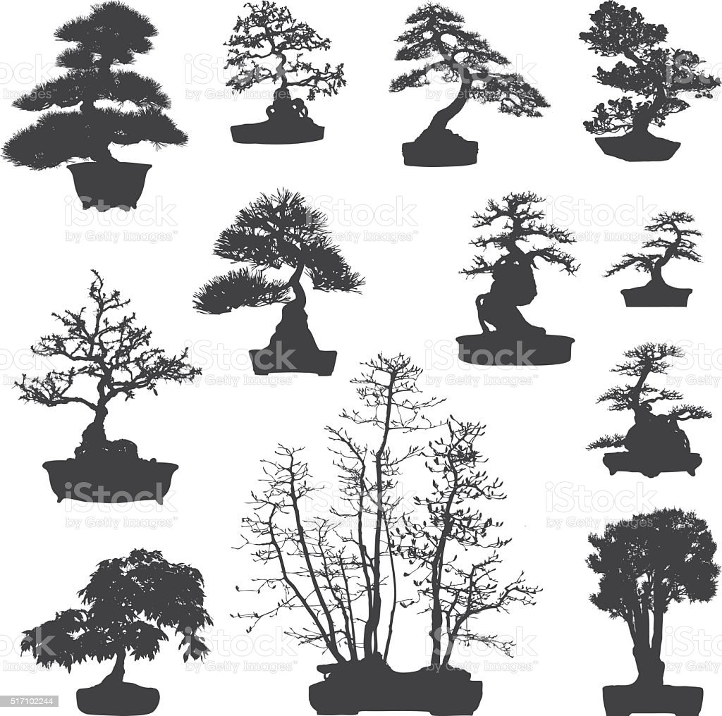 Bonsai tree silhouettes set vector art illustration