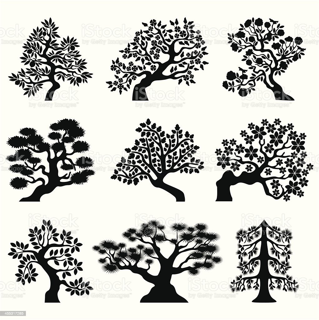 Bonsai trees royalty-free bonsai trees stock vector art & more images of abstract