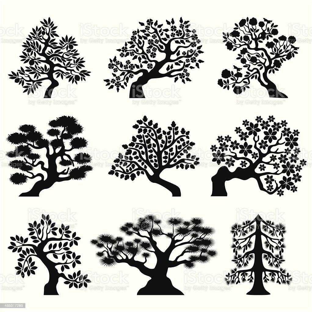 Alberi Bonsai - illustrazione arte vettoriale