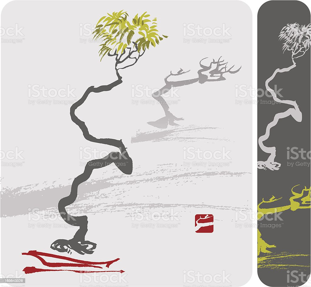 Bonsai Zigzag Tree royalty-free stock vector art