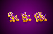 istock Bonus 2x, 5x, 10x prize winner, big jackpot game, casino sign set. Vector 1298282112