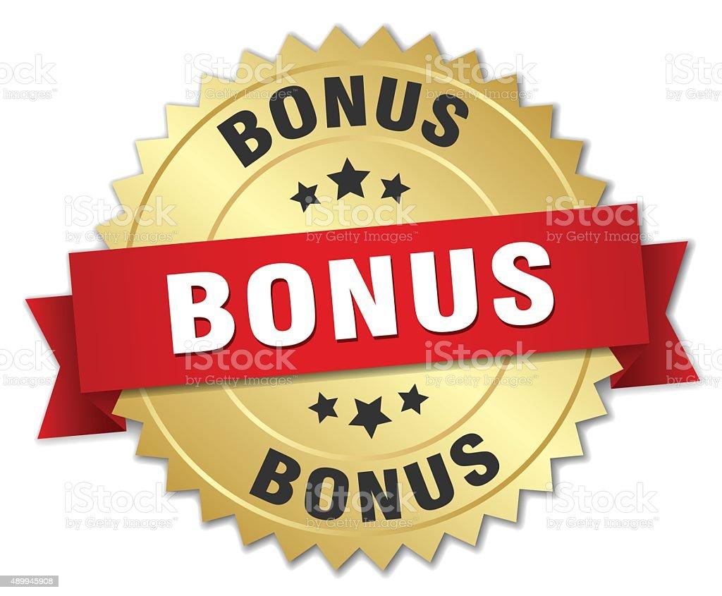 bonus 3d gold badge with red ribbon vector art illustration