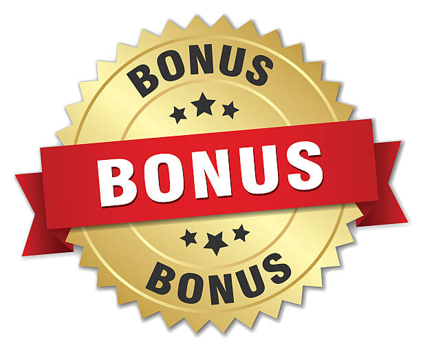 bonus 3d gold badge with red ribbon bonus 3d gold badge with red ribbon perks stock illustrations