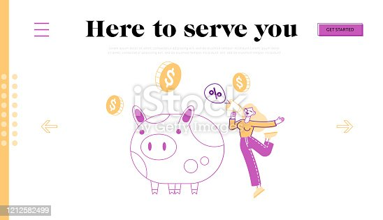 Bonus Card, Loyalty Program, Earn Reward, Redeem Gift Concept. Tiny Female Character Promoter Shout to Megaphone Near Huge Piggy Bank. Woman Promo Announcement in Store. Linear Vector Illustration