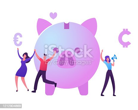 Bonus Card, Loyalty Program, Earn Reward, Redeem Gift, Perk Concept. Tiny Male and Female Characters Happily Jumping near Piggy Bank, Woman Promoter Shout to Megaphone Cartoon Flat Vector Illustration