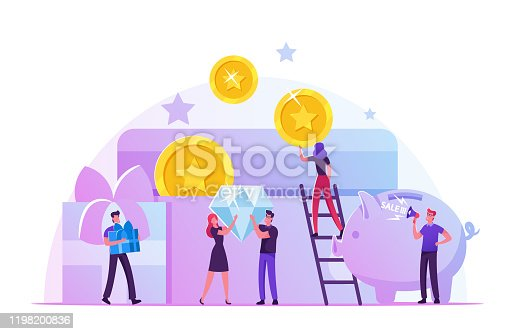 Bonus Card, Loyalty Program, Earn Reward, Redeem Gift, Perks Concept. Tiny Male and Female Characters Holding Huge Golden Coins, Brilliant and Gift Boxes at Piggy Bank Cartoon Flat Vector Illustration