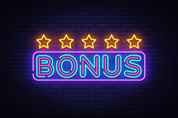 illustrazioni stock, clip art, cartoni animati e icone di tendenza di bonus neon text vector. bonus neon sign, design template, modern trend design, night neon signboard, night bright advertising, light banner, light art. vector illustration - bonus