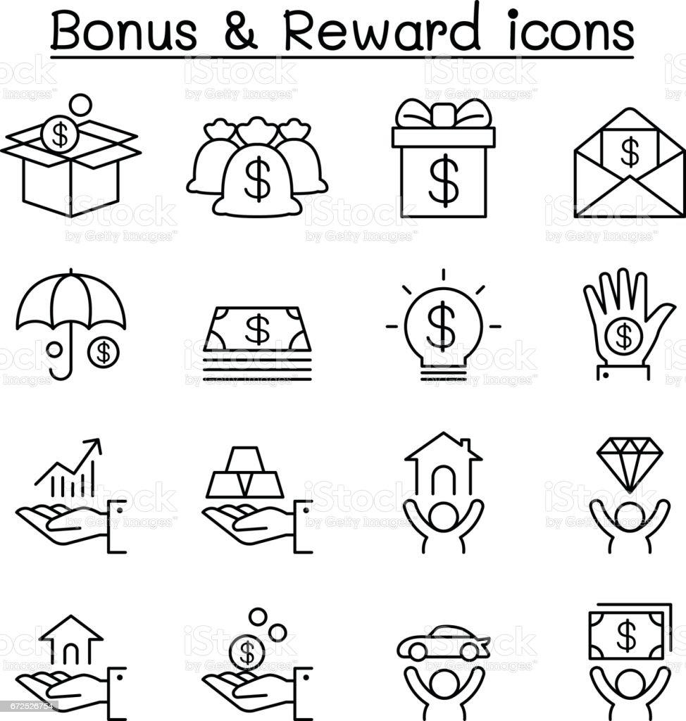 Conjunto de ícones de bónus & recompensa em estilo de linha fina - ilustração de arte em vetor