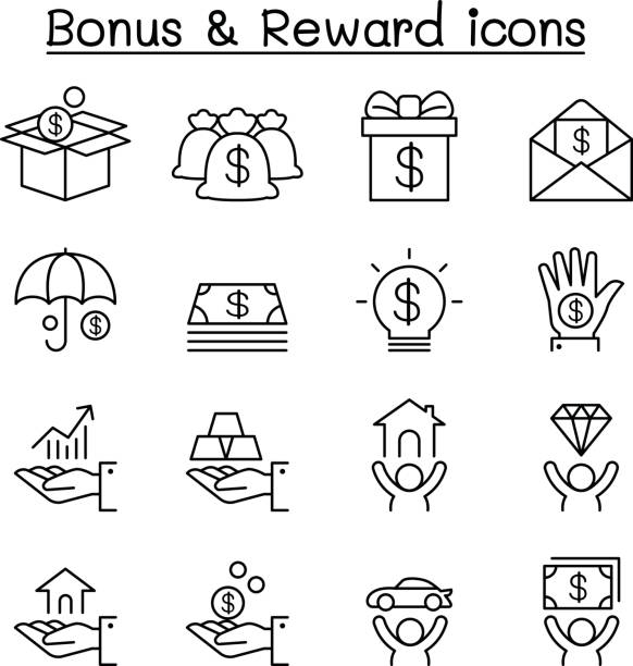illustrazioni stock, clip art, cartoni animati e icone di tendenza di bonus & reward icon set in thin line style - bonus