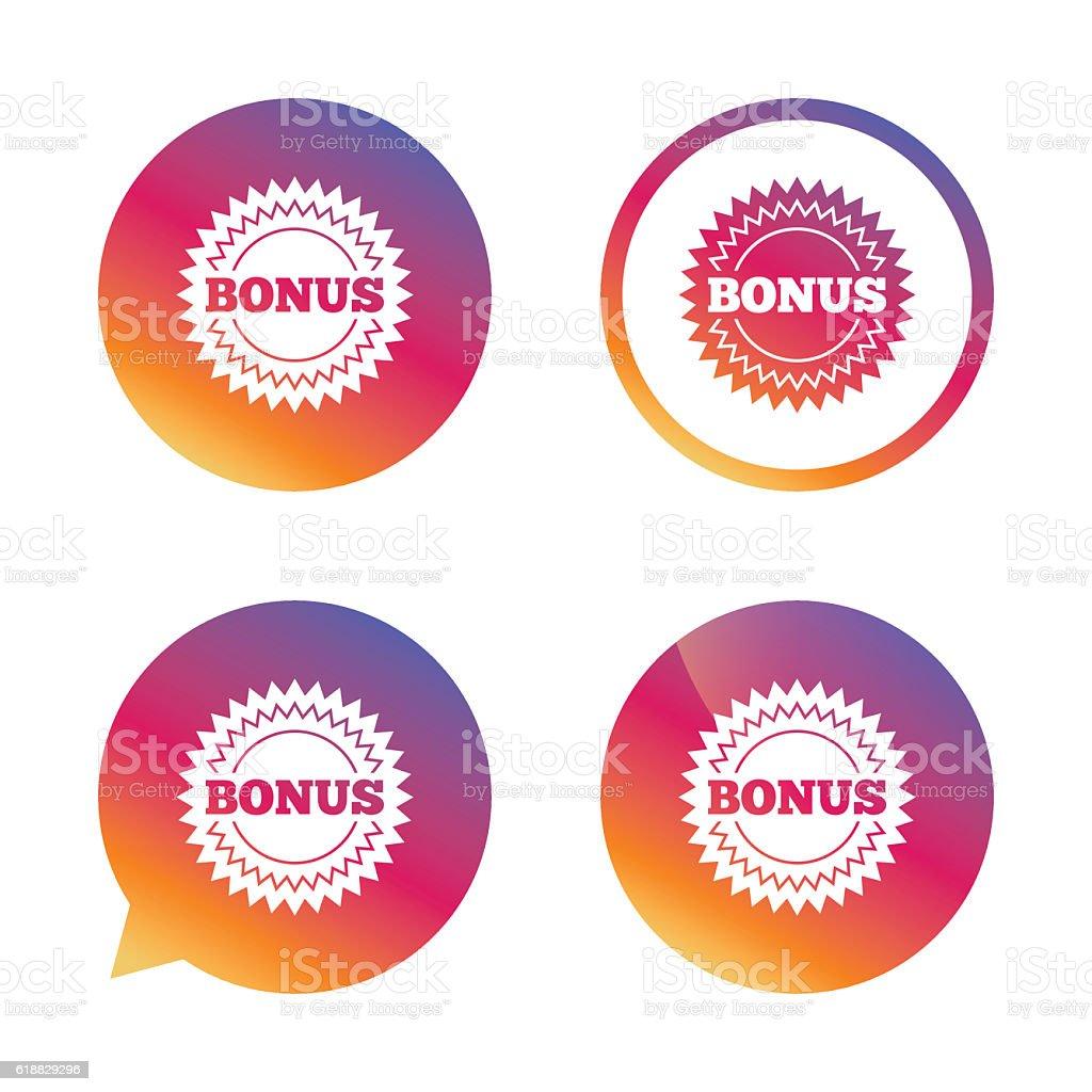 Bonus sign icon. Special offer star symbol. vector art illustration
