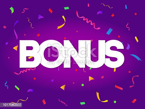 Bonus sign letters decor with colorful confetti on purple background