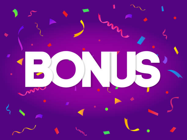 Bonus sign letters decor with colorful confetti on purple background vector art illustration