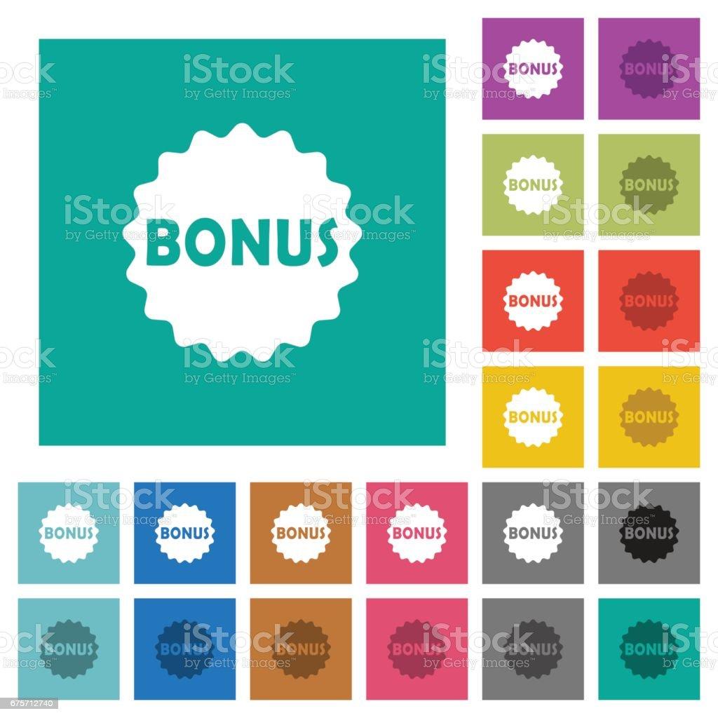 獎金貼紙方形平面多色圖示 免版稅 獎金貼紙方形平面多色圖示 向量插圖及更多 優惠券 圖片
