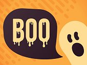 Boo ghost Halloween message with copy space.