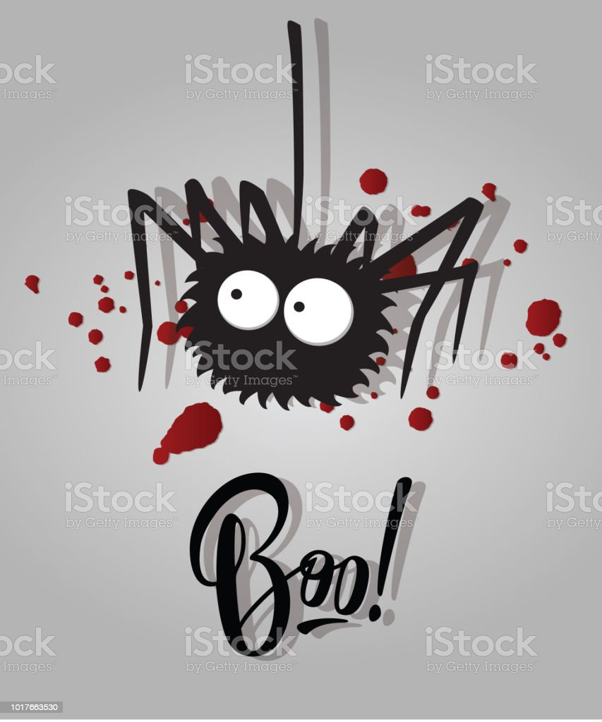 Boo Halloween Lettering Holiday Inscription Isolated To Greeting