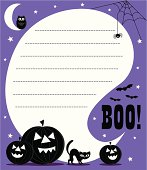 Boo! Halloween invite with pumpkins, cat, owl, cobwebs and spider. A speech bubble with space for copy to be applied. Purple background.