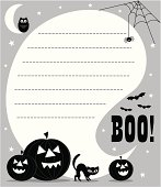 Boo! Halloween invite with pumpkins, cat, owl, cobwebs and spider. A speech bubble with space for copy to be applied. Grey background.