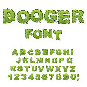 Booger font. Slippery lettering. Snivel alphabet. Green slime letters. Snot ABC. Mucus typography