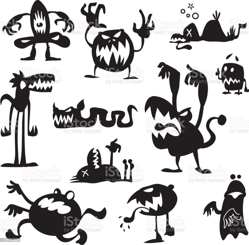 Boogie Monsters vector art illustration