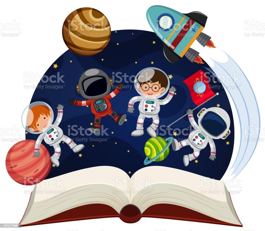 Buch über Astronomie mit Astronauten und Planeten – Vektorgrafik