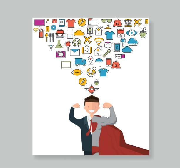 ilustraciones, imágenes clip art, dibujos animados e iconos de stock de libro a todo color de los iconos de línea del empresario de cara feliz. infografía de super negocio - suministros escolares