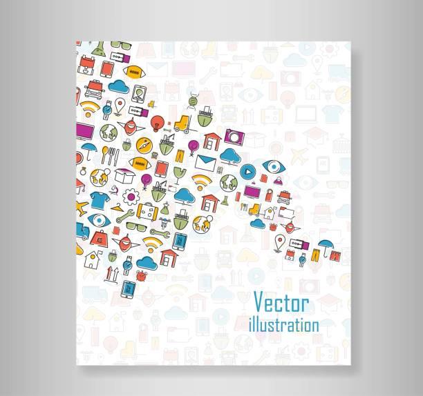 Libro a todo color de los iconos de línea de gira de tecnología escuela logística internet iconos de moda y planificación, infografía moderna vector logotipo - ilustración de arte vectorial