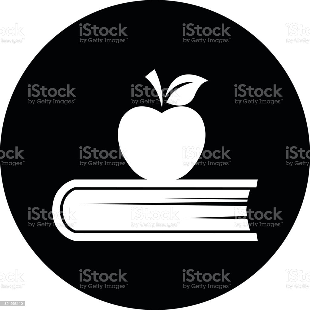 Book and apple icon. vector art illustration