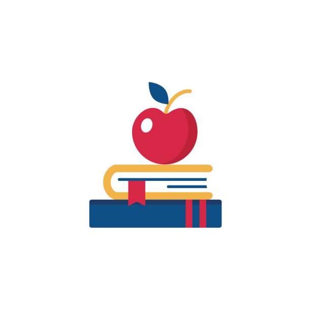 Buch und Apple Vektor Icon. – Vektorgrafik