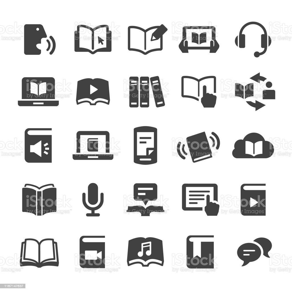 Ícones do livro e do ebook-série esperta - Vetor de Aprendendo royalty-free