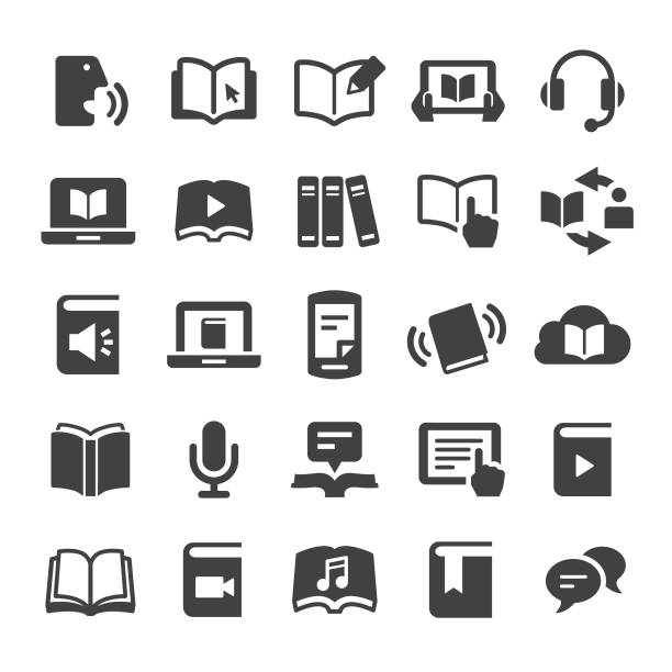 Book and ebook Icons - Smart Series Book, ebook, e reader stock illustrations