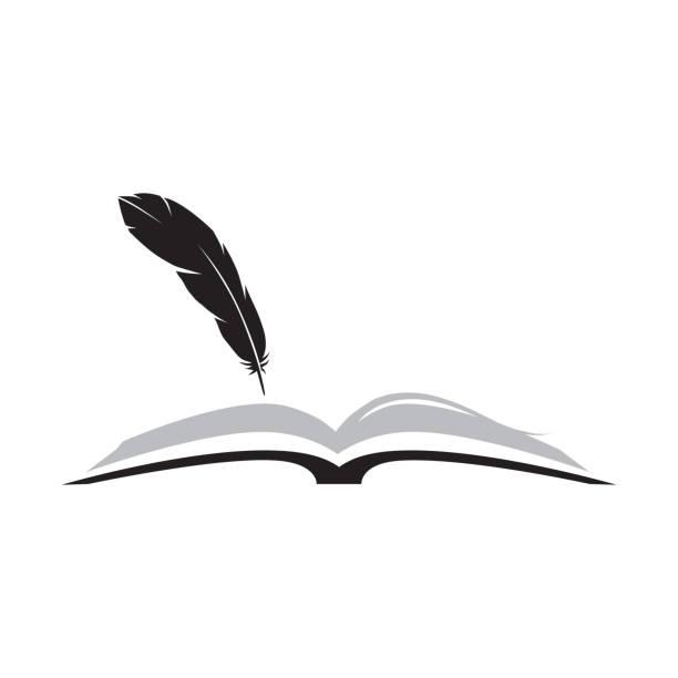 stockillustraties, clipart, cartoons en iconen met boek en feather - stekels