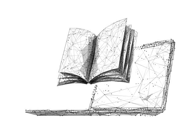 Buch und Laptop LP BW – Vektorgrafik