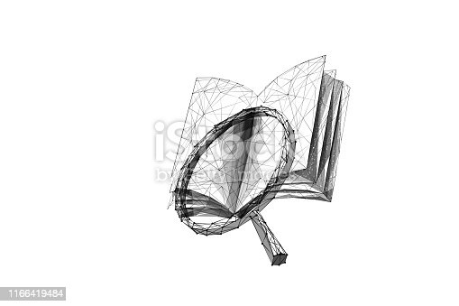 Book and magnifier low poly vector illustration. 3d magnifying glass near open encyclopedia on white. Polygonal textbook mesh art with connected dots. Information search, scientific research   metaphor