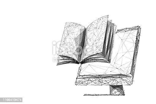 PC screen and book low poly vector illustration. 3d open textbook. Polygonal computer display mesh art with connected dots. Online library concept. Distance learning, e-learning metaphor in white