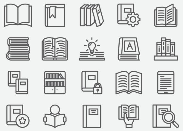 Book and Read Line icons Book and Read Line icons book icons stock illustrations